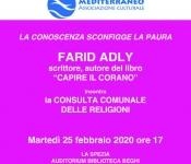 Presentazione del libro di FARID ADLY<br />CAPIRE IL CORANO<br />Martedì 25 febbraio ore 17 Auditorium Biblioteca Beghi