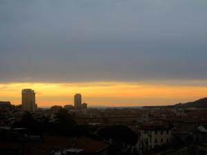 Spezia all'alba da Fossitermi, con veduta della costa toscana, dell'Elba, della Gorgona e della Capraia    (2014)    (foto Giorgio Pagano)