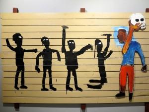 """Roma, Chiostro del Bramante, mostra """"Jean-Michel Basquiat, New York City"""": """"Procession""""    (2017)    (foto Giorgio Pagano)"""