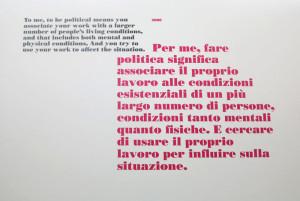 """Firenze, Palazzo Strozzi, mostra """"Libero"""" di Ai Weiwei, riproduzione di una frase dell'artista (2016) (foto Giorgio Pagano)"""