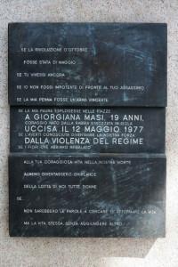 Roma, Ponte Garibaldi, targa in ricordo di Giorgiana Masi    (2017)    (foto Giorgio Pagano)