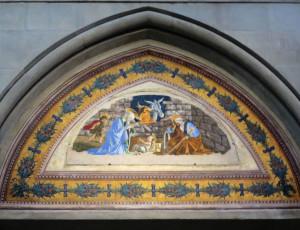 Sandro Botticelli, Natività di Gesù con San Giovannino (1476-1478), affresco nella chiesa di Santa Maria Novella a Firenze (foto Giorgio Pagano - 2017)