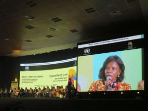 Marrakech, United Nations Public Service Forum, intervento della rappresentante del Governo della Repubblica Democratica di Sao Tomé e Principe (2018)  (foto Giorgio Pagano)