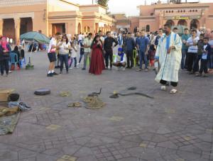 Marocco, Marrakech, piazza Jemaa el Fna, incantatore di serpenti (2018) (foto Giorgio Pagano)
